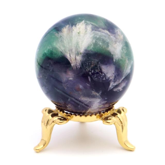 エンジェルフェザー フローライト 丸玉 直径 約35mm 台座付き 蛍石 天然石 1点物