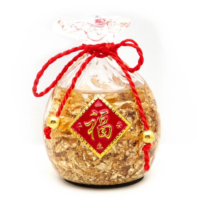 黄金の福袋 置き物 金箔入り 縁起物 箱付き 開運 風水 幸福 幸運