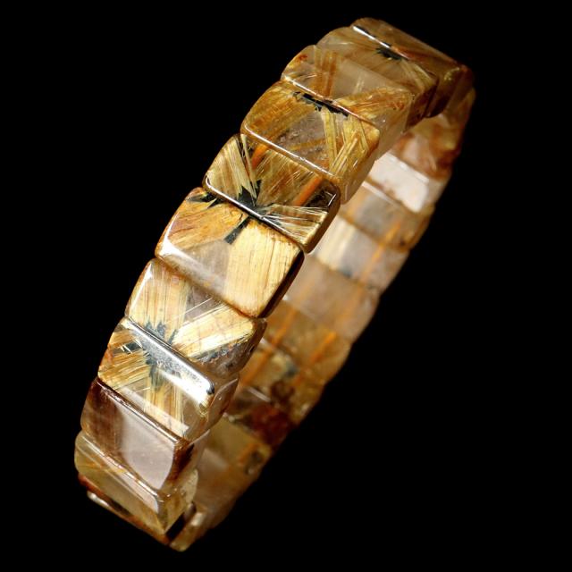 タイチン ルチルクォーツ AAA バングル ブレスレット 太陽ルチル 天然石 1点物 希少 レア
