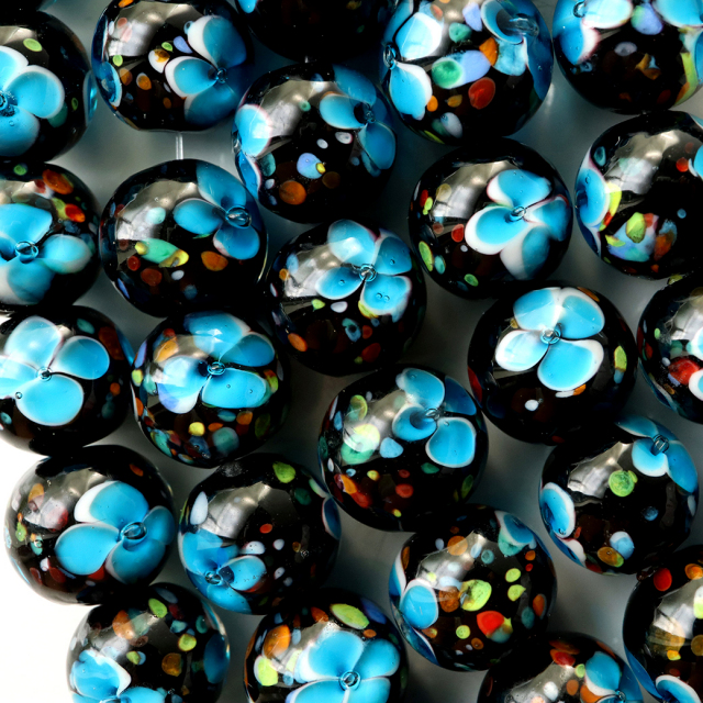 とんぼ玉 一連 ビーズ 41玉 10mm 水色