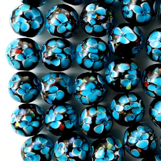 とんぼ玉 一連 ビーズ 34玉 12mm 水色