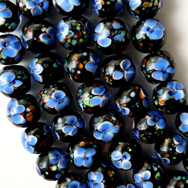 とんぼ玉 一連 ビーズ 41玉 10mm 藍色 インディゴブルー