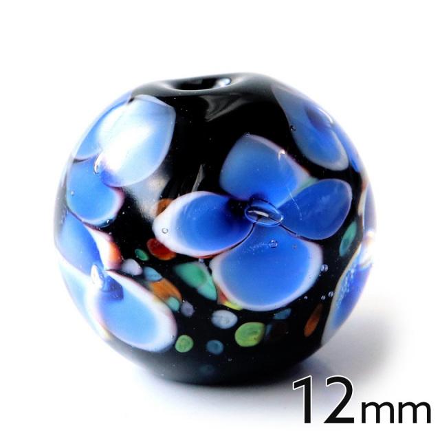 とんぼ玉 ビーズ 粒売り 1粒 12mm 藍色 インディゴブルー