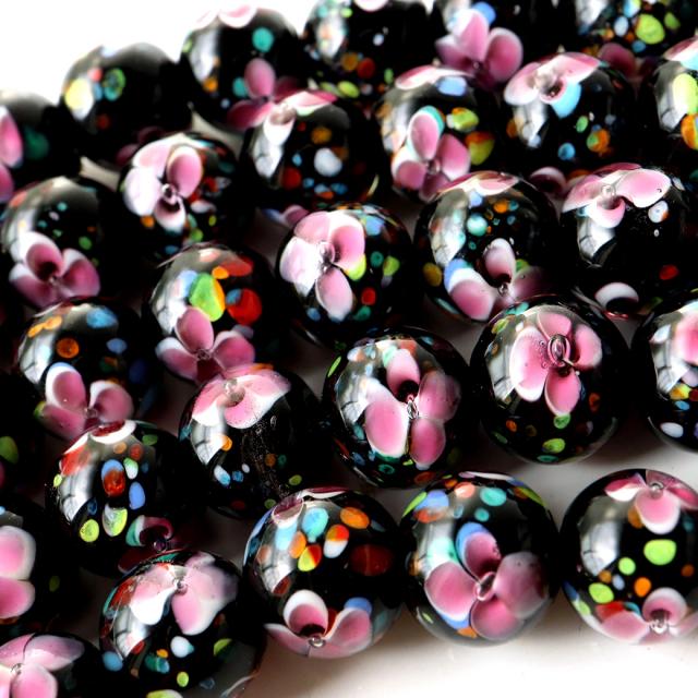 とんぼ玉 一連 ビーズ 41玉 10mm 桃色 ピンク
