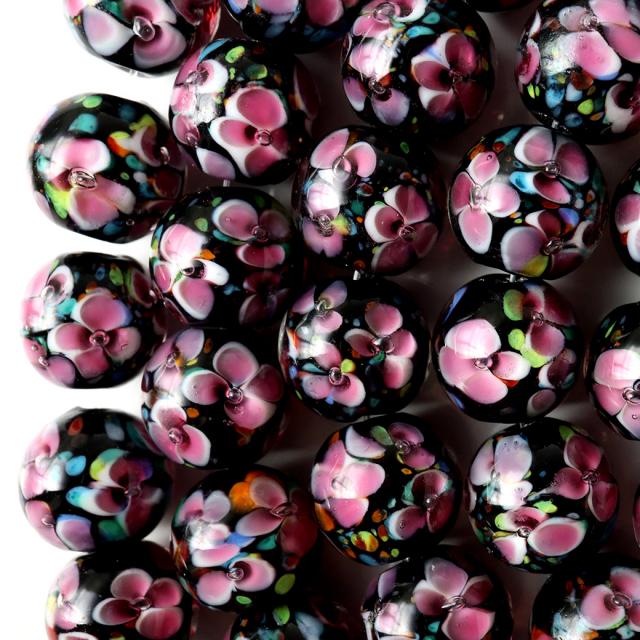 とんぼ玉 一連 ビーズ 34玉 12mm 桃色 ピンク