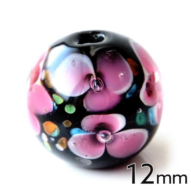 とんぼ玉 ビーズ 粒売り 1粒 12mm 桃色 ピンク
