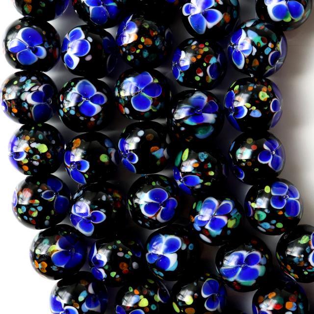 とんぼ玉 一連 ビーズ 41玉 10mm 青色 ブルー