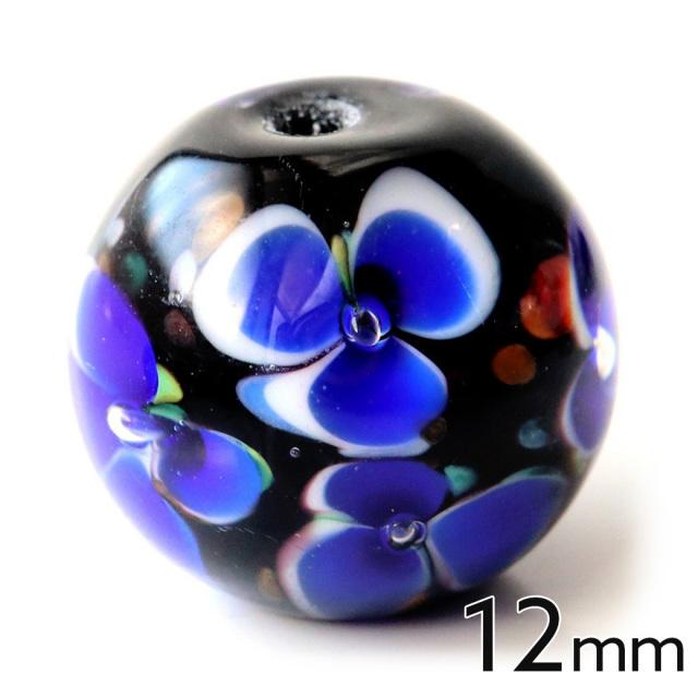 とんぼ玉 ビーズ 粒売り 1粒 12mm 青色 ブルー
