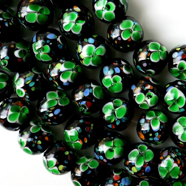 とんぼ玉 一連 ビーズ 41玉 10mm 緑色 グリーン