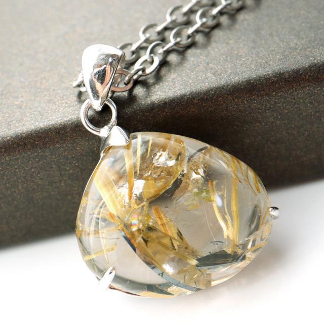 ゴールド タイチン ルチルクォーツ ペンダント 天然石 パワーストーン Silver925