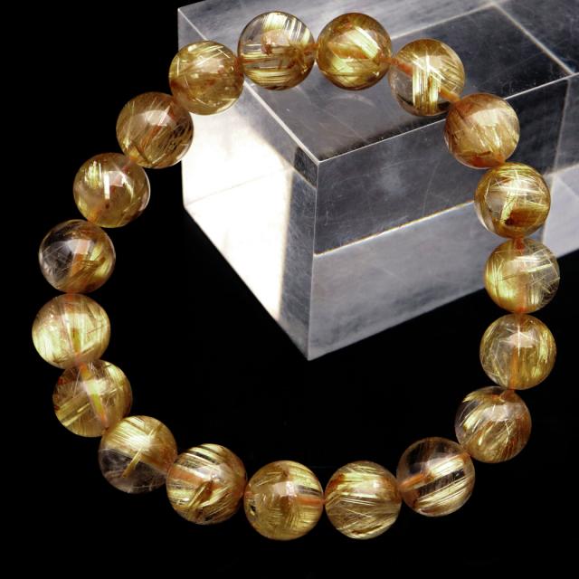 ゴールド ルチルクォーツ ブレスレット 10.5mm AAA タイチン 太金針 水晶 天然石 パワーストーン 金運 1点物