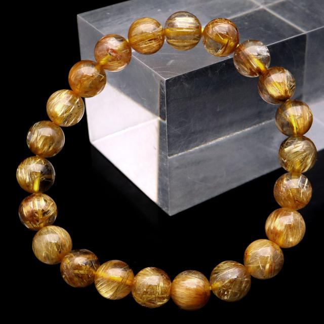 ゴールド ルチルクォーツ ブレスレット 8.5mm タイチン 太金針 水晶 天然石 パワーストーン 金運 1点物