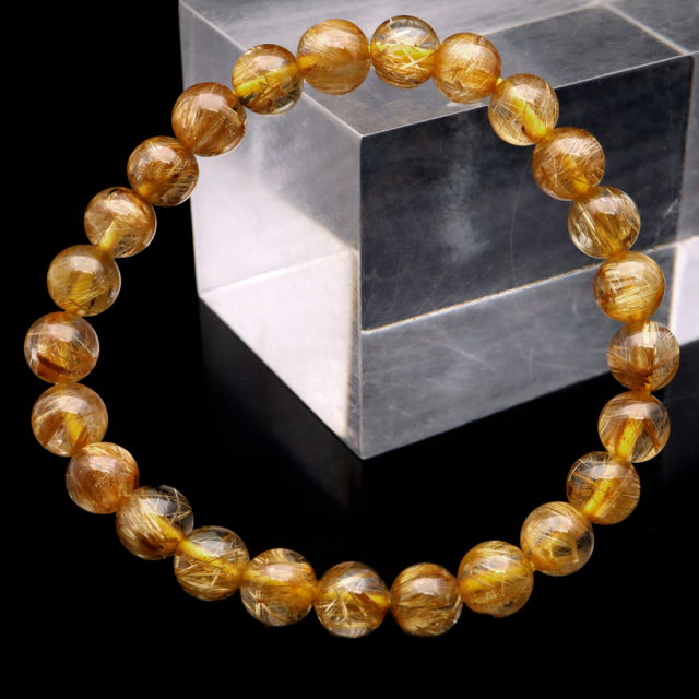 ゴールド ルチルクォーツ ブレスレット 7mm タイチン 太金針 水晶 天然石 パワーストーン 金運 1点物