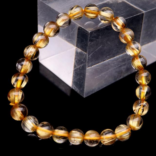 タイチン ルチルクォーツ ブレスレット 7mm 太金針 水晶 天然石 パワーストーン 金運