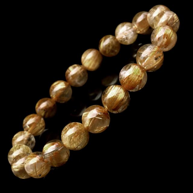 タイチン ルチルクォーツ ブレスレット 9mm 太金針 水晶 天然石 パワーストーン 金運 父の日 プレゼント