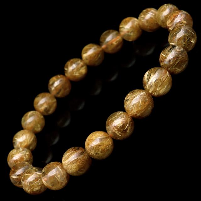 タイチン ルチルクォーツ ブレスレット 8.5mm 太金針 水晶 天然石 パワーストーン 金運 父の日 プレゼント
