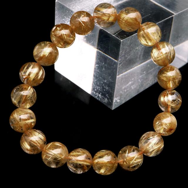 タイチン ルチルクォーツ ブレスレット 10mm 太金針 水晶 天然石 パワーストーン 金運 父の日 プレゼント