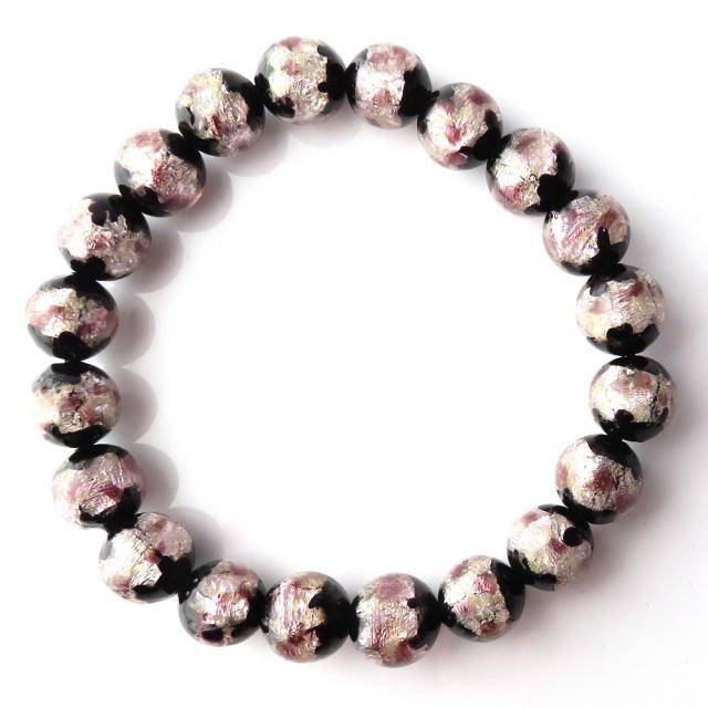 光る 夜光タイプ ホタルガラス ブレスレット 桜カラー ピンク とんぼ玉 沖縄で大人気のお土産アイテム