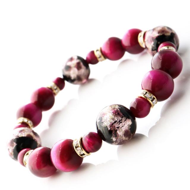 光る ホタルガラス ピンク ブレスレット 沖縄 人気 お土産 パワーストーン