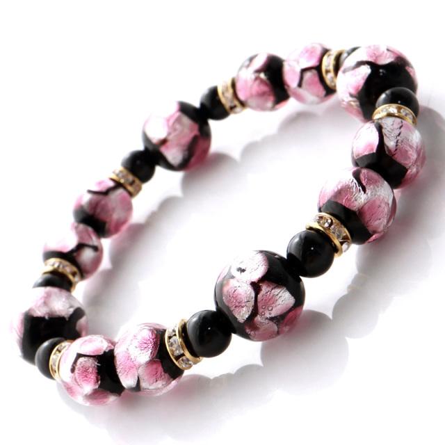 ホタルガラス ピンク 桜 春 ブレスレット 沖縄 人気 お土産 パワーストーン