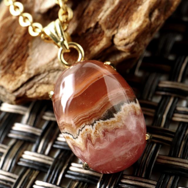 チョコレート インカローズ ネックレス 天然石 ペンダント 縞模様 1点物 Silver925 パワーストーン