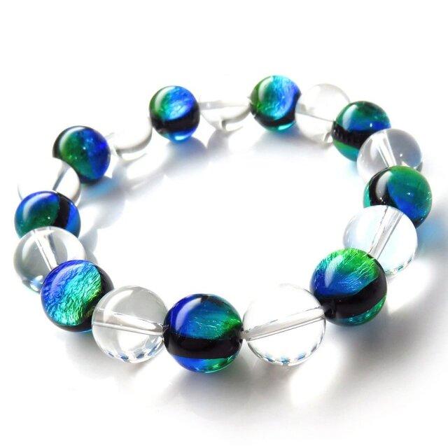 ケラママリン ホタルガラス 水晶 AAA ブレスレット メンズ レディース 12mm 沖縄 ホタル石 とんぼ玉