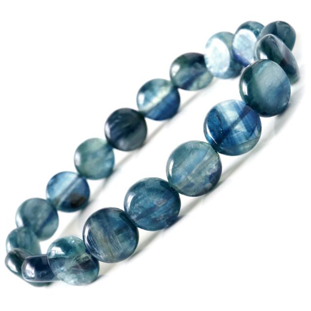 カイヤナイト タンブル ブレスレット ナチュラルカラー AAA おはじき型 タンザニア産 藍晶石 1点もの 天然石 鑑別書付き