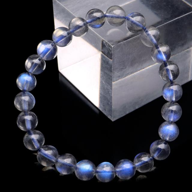 ラブラドライト ブレスレット 7.5mm AAAAA ブルーに輝くシラー 天然石 パワーストーン