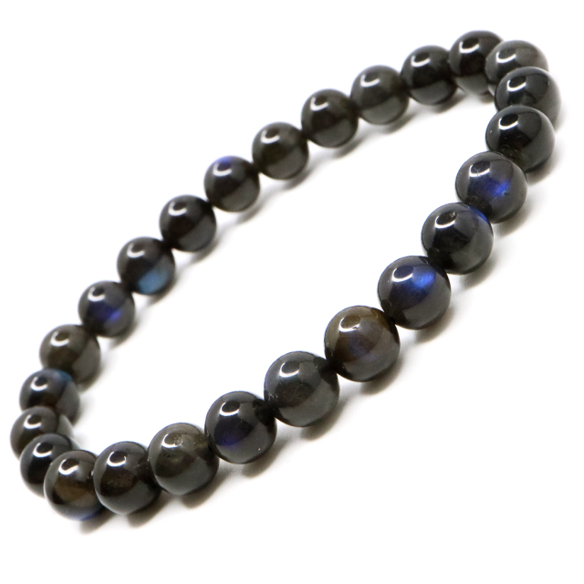ブラック ラブラドライト ブレスレット 7.5mm AAA 漆黒に輝くブルーシラー 1点もの 天然石 パワーストーン