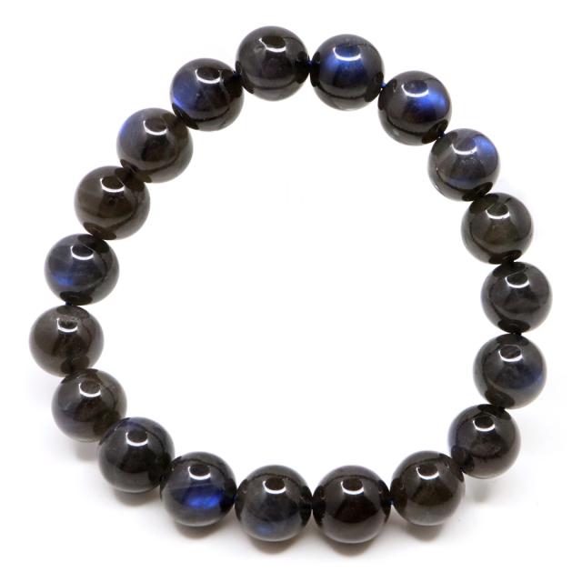 ブラック ラブラドライト ブレスレット 10.5mm AAA 漆黒に輝くブルーシラー 1点もの 天然石 パワーストーン