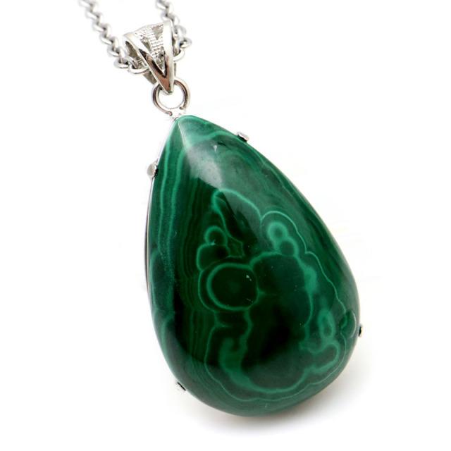 マラカイト ネックレス 天然石 ペンダント 高品質 孔雀石 Silver925 パワーストーン 1点もの
