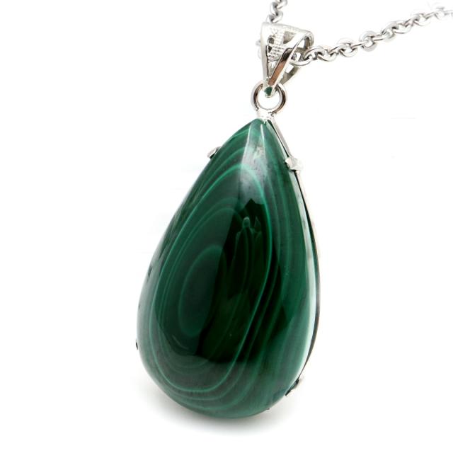 マラカイト ネックレス しずく型 ドロップ 天然石 ペンダント 高品質 孔雀石 Silver925 パワーストーン 1点もの