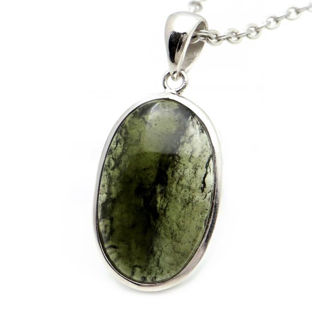 モルダバイト ネックレス 鑑別書付き 天然石 ペンダント 超高品質 龍紋がはっきりと見える 本物 Silver925