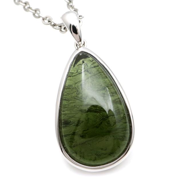 モルダバイト ネックレス 天然石 ペンダント 1点物 超高品質 龍紋がはっきりと見える 本物 Silver925