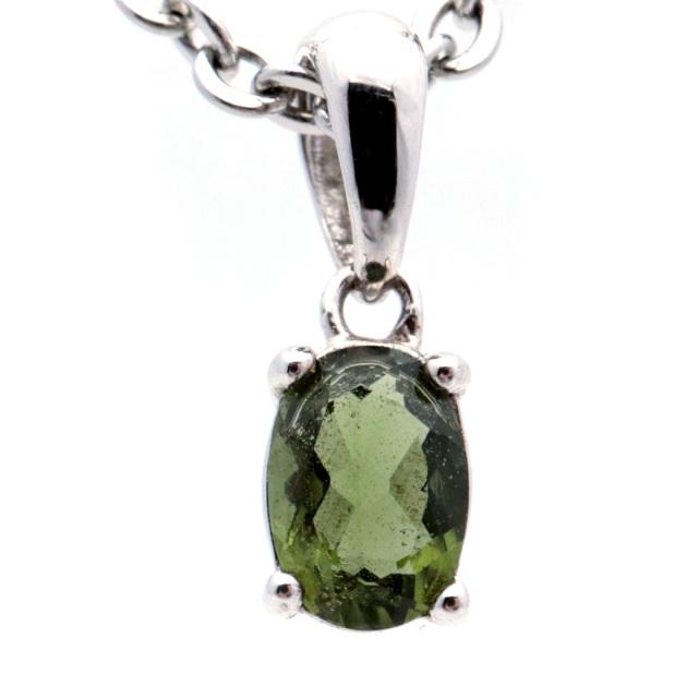 モルダバイト ネックレス 天然石 ペンダント オーバル型 最高品質5A Silver925 宝石質