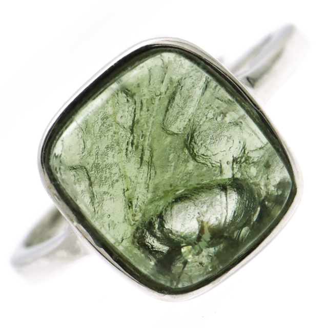 モルダバイト 指輪 リング レディース 龍紋がはっきりと見える 1点物 宇宙 ガラス パワーストーン 天然石 贈り物 プレゼントに