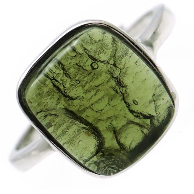 モルダバイト 指輪 リング しずく ドロップ レディース 龍紋がはっきりと見える 1点物 宇宙 ガラス パワーストーン 天然石