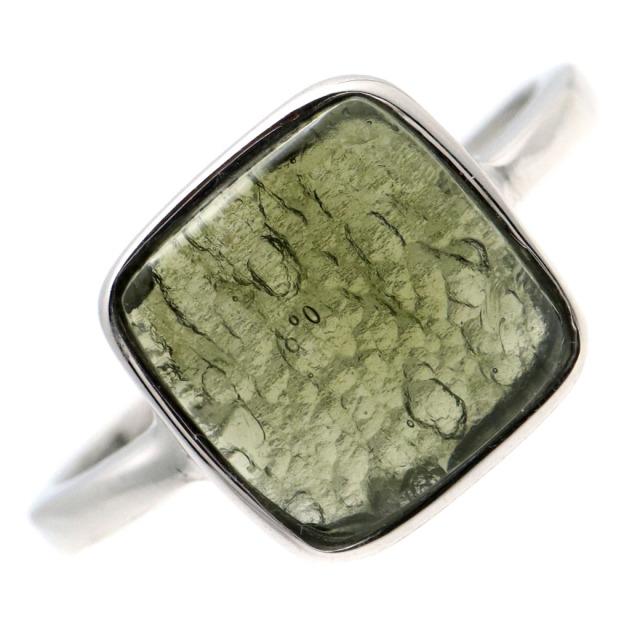 モルダバイト 指輪 リング レディース 龍紋がはっきりと見える 1点物 宇宙 ガラス パワーストーン 天然石