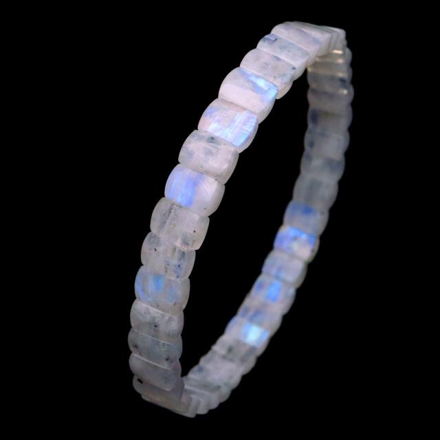 ムーンストーン バングル 6月 誕生石 レインボームーンストーン ブレスレット 天然石