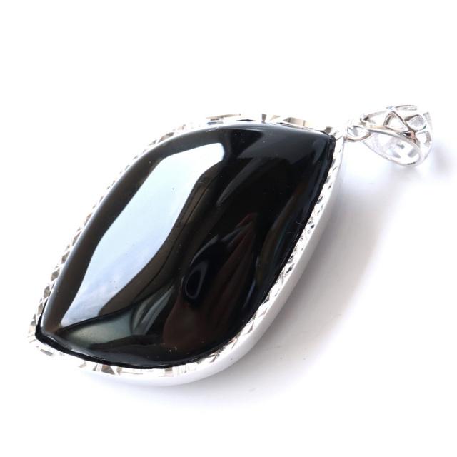 モリオン ペンダント 黒水晶 光を全く通さない高品質 Silver925 サージカルステンレス製チェーン付き