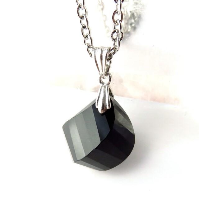 オニキス ペンダント Silver925 ネックレス 天然石 パワーストーン 多面カット