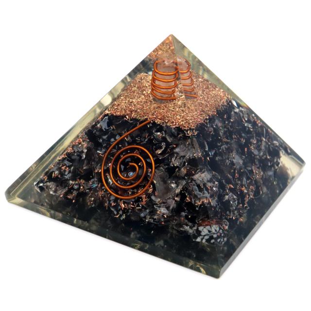 モリオン使用 水晶単結晶入り オルゴナイト ピラミッド 黒水晶 大人気 スピリチュアルグッズ 幅約65-70mm前後