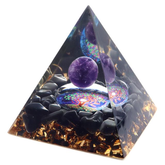 オルゴナイト ピラミッド 招財樹 オブシディアン さざれ アメジスト 丸玉入り orgonite pyramid  置物 天然石 パワーストーン 浄化