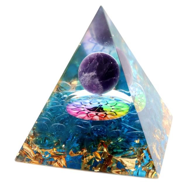 オルゴナイト ピラミッド アメジスト 丸玉入り チャクラ 紫水晶 orgonite pyramid  置物 天然石 パワーストーン 浄化