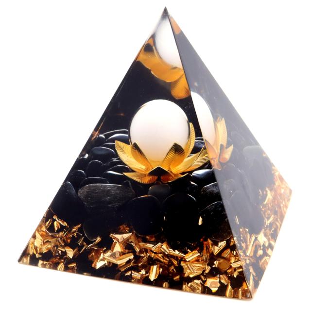 オルゴナイト ピラミッド オブシディアン さざれ入り 蓮の花 orgonite pyramid  置物 天然石 パワーストーン 浄化
