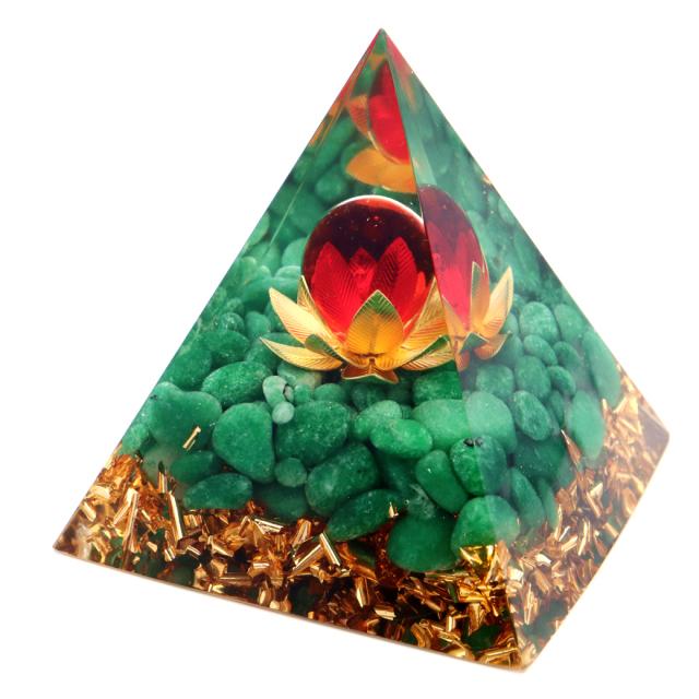 オルゴナイト ピラミッド 蓮の花 orgonite pyramid  置物 天然石 パワーストーン 浄化