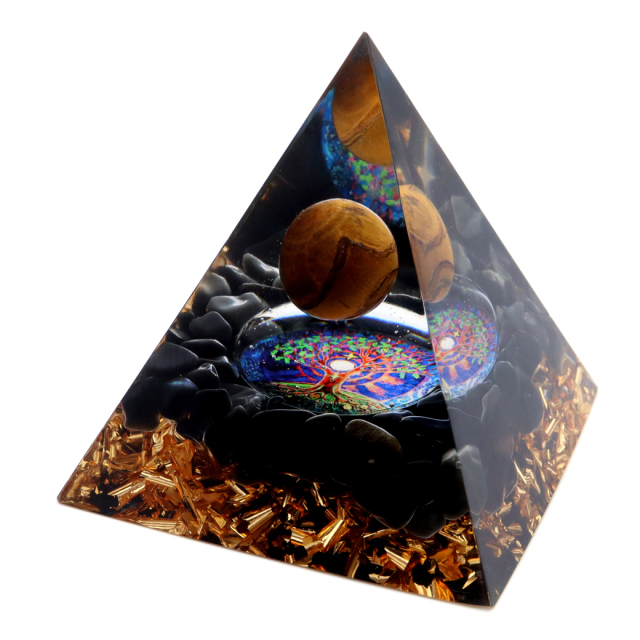 オルゴナイト ピラミッド 招財樹 オブシディアン さざれ タイガーアイ 丸玉入り orgonite pyramid  置物 天然石 パワーストーン 浄化