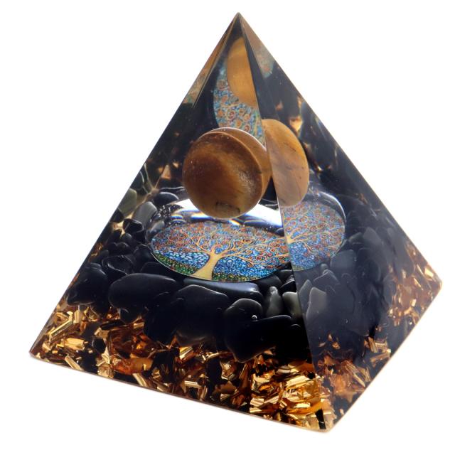 オルゴナイト ピラミッド 生命の樹 オブシディアン さざれ タイガーアイ 丸玉入り orgonite pyramid  置物 天然石 パワーストーン 浄化