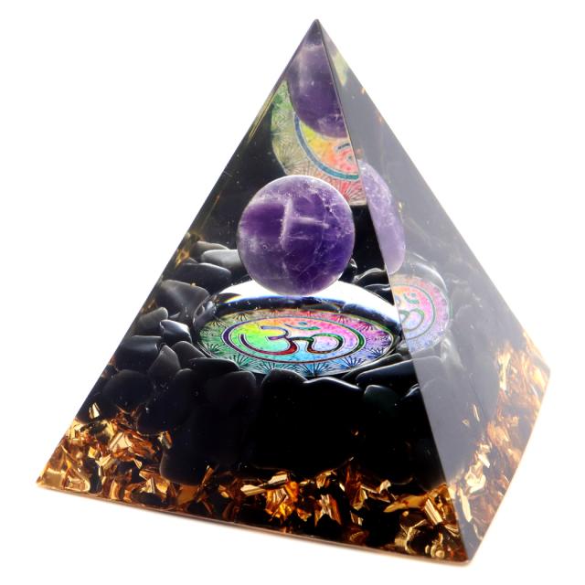 オルゴナイト ピラミッド 幾何学模様 オブシディアン さざれ アメジスト 丸玉入り orgonite pyramid  置物 天然石 パワーストーン 浄化