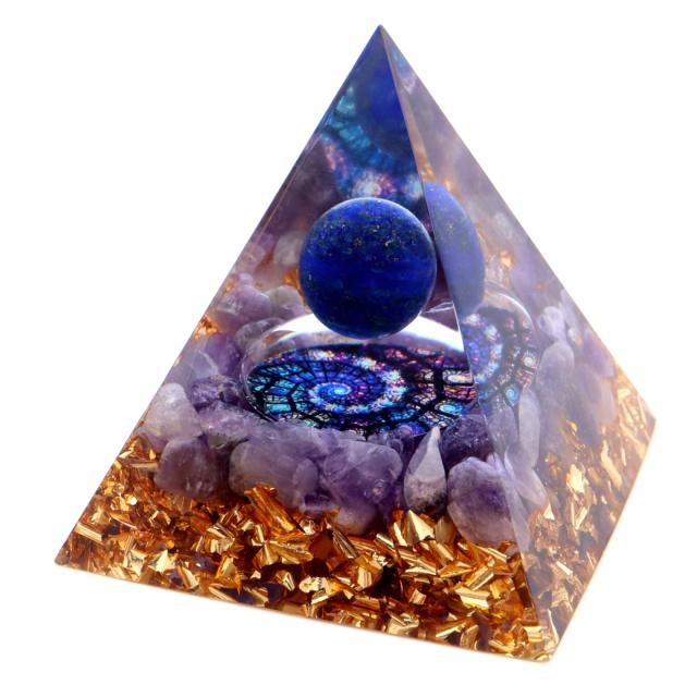 オルゴナイト ピラミッド アメジスト さざれ ラピスラズリ丸玉入り ステンドグラス風 紫水晶 orgonite pyramid  置物 天然石